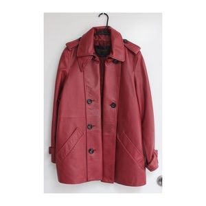 Vintage Red Leather Coach Jacket